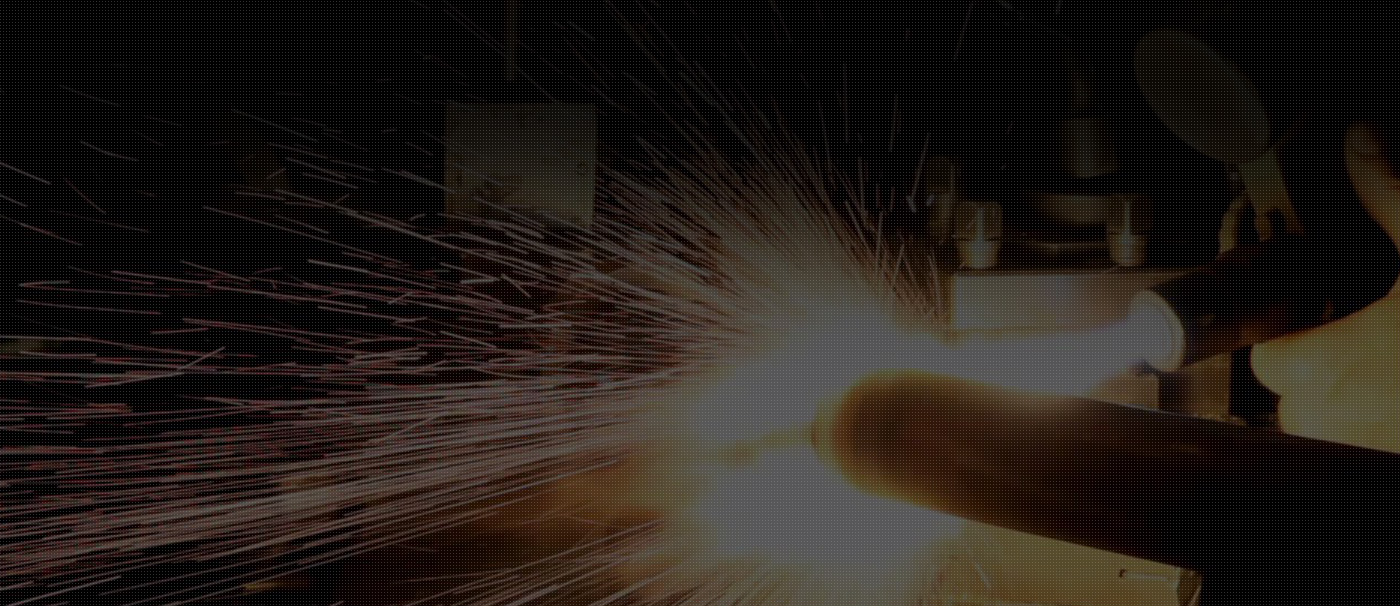 metalworking process with sparks flying